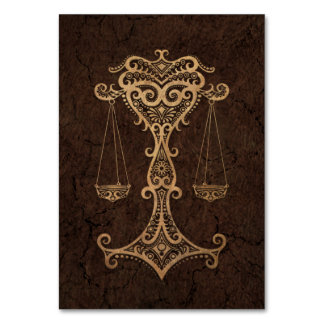 Rustic Libra Zodiac Sign on Stone Effect Table Cards
