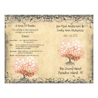 Rustic Light Coral Heart Leaf Tree Wedding Program