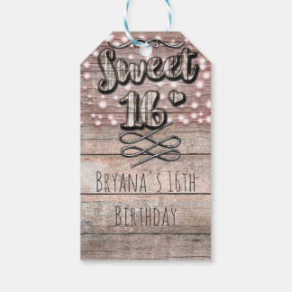 Rustic Light Wood & String Lights Sweet 16 Party Pack Of Gift Tags
