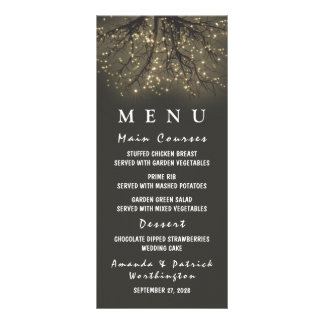 Rustic Lighted Tree Branch Wedding Menu Cards