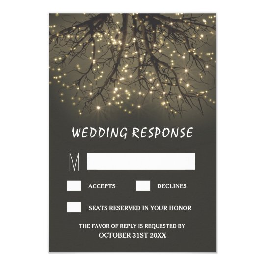 Rustic Lighted Tree Branch Wedding RSVP Cards