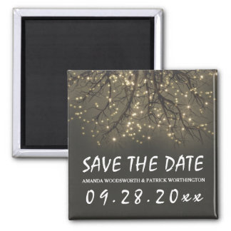 Rustic Lighted Tree Branch Wedding Save the Date Square Magnet