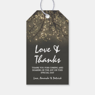 Rustic Lighted Tree Branch Wedding Thank You Gift Tags