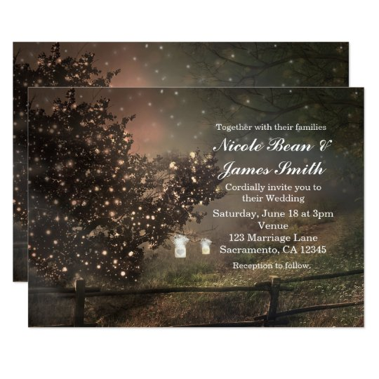 Rustic Lighted Tree in Field Wedding Invitations