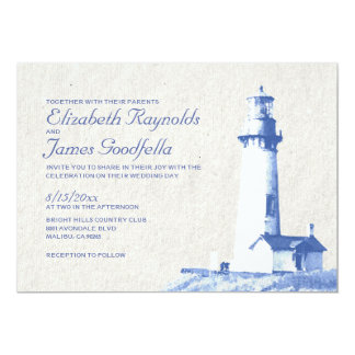 Rustic Lighthouse Wedding Invitations