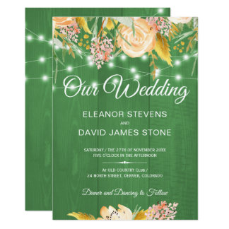 Rustic lights barn wood spring floral wedding card