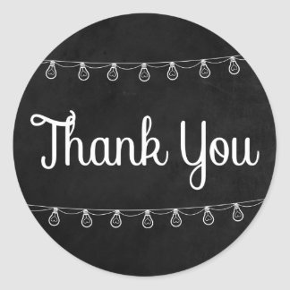 Rustic Lights Black And White Thank You Chalkboard Classic Round Sticker