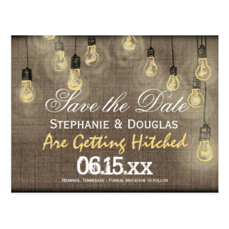 Rustic Lights Burlap Save the Date Postcards