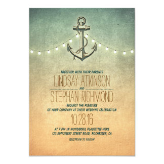Rustic lights nautical anchor wedding card