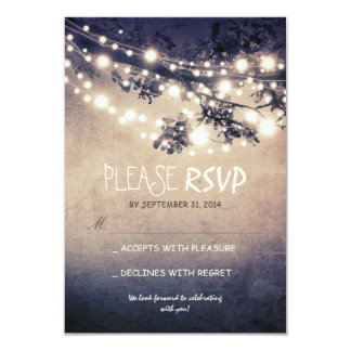 "Rustic lights wedding RSVP cards 3.5"" X 5"" Invitation Card"