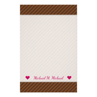 Rustic-Like Dark Brown & Lighter Brown Stripes Stationery