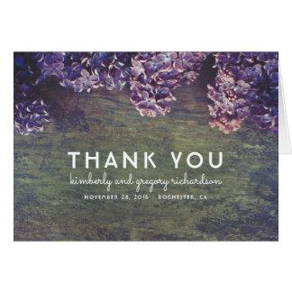 Rustic Lilacs Wedding Thank You Card