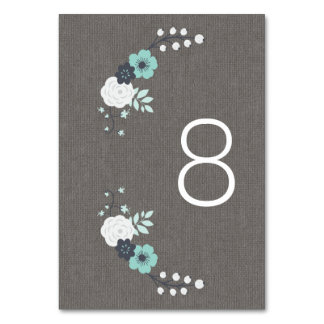 Rustic Linen and Blue Flowers Wedding Table Cards