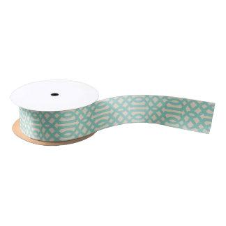 Rustic Linen Beige and Aqua Trellis Satin Ribbon