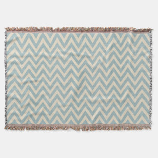 Rustic Linen Beige and Blue Chevron Throw