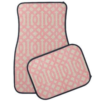 Rustic Linen Beige and Pink Trellis Car Mat