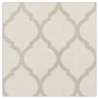 Rustic Linen Beige and Taupe Moroccan Quatrefoil Fabric