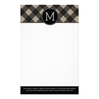Rustic Linen Black Buffalo Plaid gingham Monogram Custom Stationery