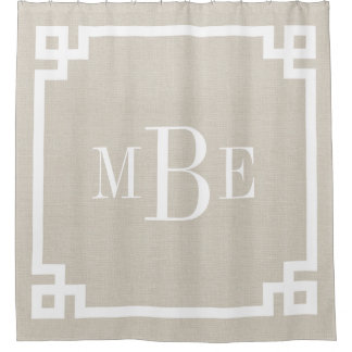 Rustic Linen Greek Key Border Monogram