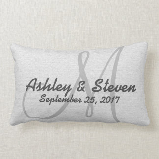 Rustic Linen Look Grey Modern Lumbar Pillow