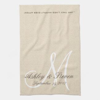 Rustic Linen Look with White Monogram Kitchen Towel