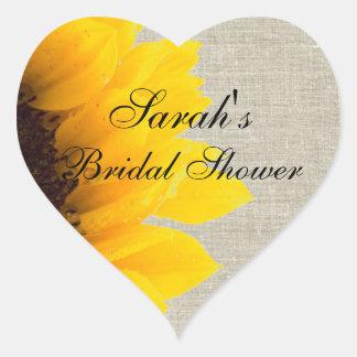 Rustic Linen Sunflower Bridal Shower Heart Stickers