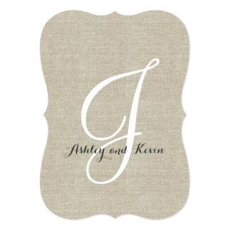 Rustic Linen Wedding Invitations Initial