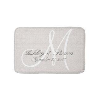 Rustic Linen Wedding Monogram Bath Mat