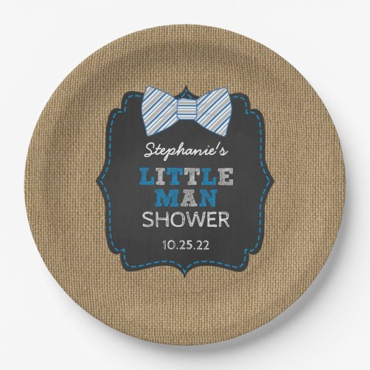 Rustic little man bow tie baby shower decor paper plate