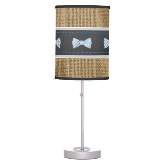 Rustic Little Man Bow Tie Burlap nursery decor Table Lamp