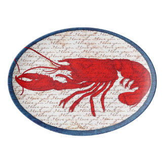 Rustic Lobster Classic Vintage Red White Blue Porcelain Serving Platter
