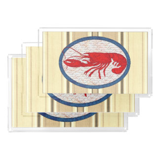Rustic Lobster Vintage Red White Blue Nautical Acrylic Tray