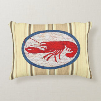 Rustic Lobster Vintage Red White Blue Nautical Decorative Pillow