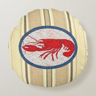 Rustic Lobster Vintage Red White Blue Nautical Round Pillow