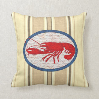 Rustic Lobster Vintage Red White Blue Nautical Throw Pillow