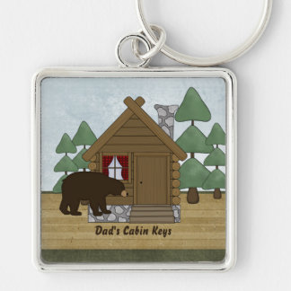 Rustic Lodge Cabin Keys with Personalized Name Keychain