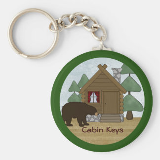 Rustic Lodge Country Cabin Keys with Bear Basic Round Button Keychain