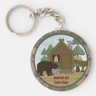 Rustic Lodge: Country Cabin Keys with Bear Keychain