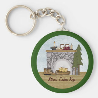 Rustic Lodge Country Cabin Keys with Custom Name Keychain