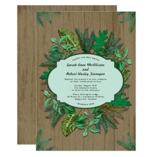 Rustic Lodge Greenery Wreath Wedding Invitation