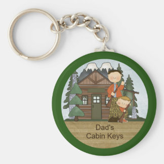 Rustic Lodge Hunting Dad and Boy at Cabin Custom Basic Round Button Keychain