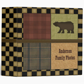 Rustic Lodge Look With Bear Customizable Family 3 Ring Binders