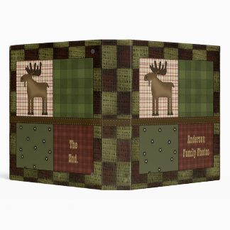 Rustic Lodge Look With Moose Customizable Family 3 Ring Binder