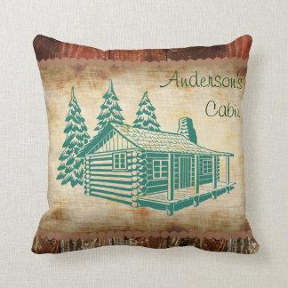 Rustic Log Cabin Custom Name Pillow