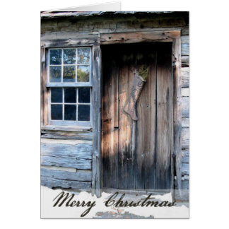 Rustic Log Cabin Rustic Country Christmas Card