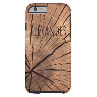 Rustic Log Custom Name Tough iPhone 6 Case