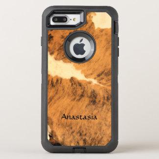 Rustic Long Horn Cowhide Pattern Custom OtterBox Defender iPhone 8 Plus/7 Plus Case