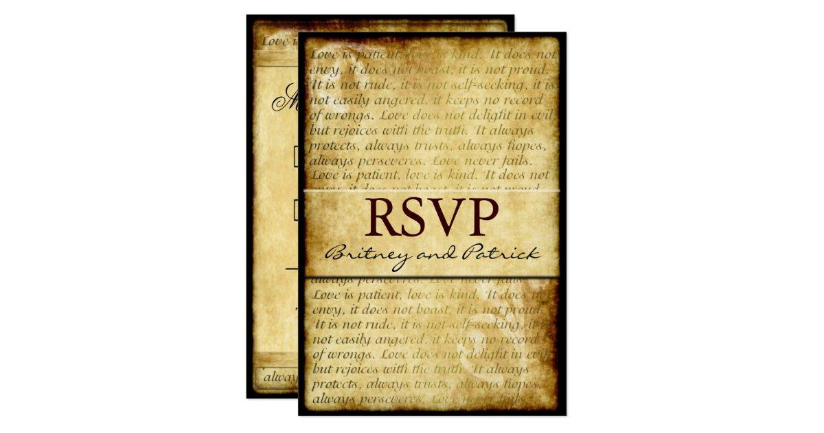 Rustic Love Is Patient Vintage Wedding RSVP Cards 35 X 5 Invitation Card