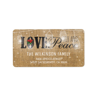 Rustic Love, Joy & Peace Christmas Holidays Label
