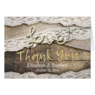 Rustic Love Rope Burlap Lace Wedding Thank You Card
